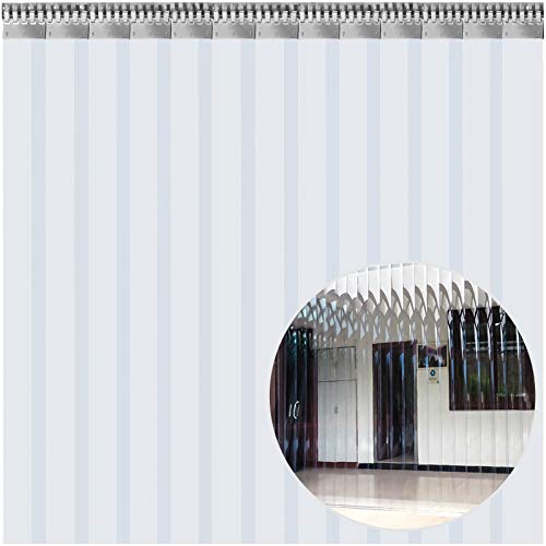 WE Cortina Puerta PVC Transparente Impermeable, 2 x 3 m, Cortina de Lamas de PVC Transparente 13 Tiras Total, Cortina Puerta PVC Ancho Total 2 m para Supermercados, Tiendas, Casas, Fábricas etc