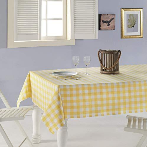 ElfRoutes Bunte Karierte Tischdecke - 100% Baumwolle - 155 x 220 cm - Gelbe Tischdecke - Freudiges Küchenzubehör: Tischdecke für drinnen und draußen, Tischdecke für Partys