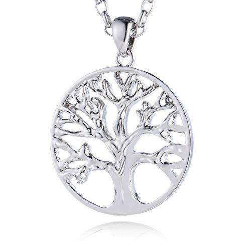 Morella Mujeres Acero Inoxidable Collar 70 cm con árbol de la Vida Colgante portafortuna 34 mm y Bolsa de Terciopelo