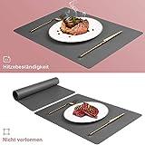 CHONLY Platzsets PU Kunstleder Tischsets 4er Sets Abwischbare Wasserdicht Platzdecken Lederoptik 45x30cm und Glasuntersetzer Rund Geschenke Kiste für Hause Küche Restaurant und Hotel - 4