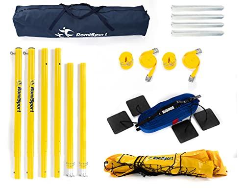 RomiSport Red completa de voleibol de playa, postes y marcación de campo Courtline, 8,5 m, red completa para voleibol playa, postes y marcación de campo 🔥