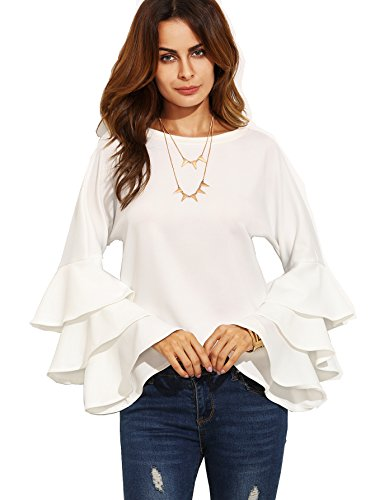 SheIn Women's Round Neck Ruffle Long Sleeve Blouse - White XX-Large