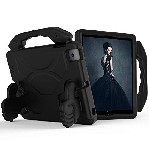 Kids Case for Apple iPad 2 3 4 -Lightweight Shockproof Thumb Handle Holder Cover for iPad 2, Third-Generation iPad, Fourth-Generation iPad Tablet (Black)