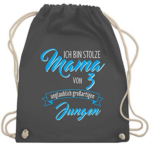 Shirtracer Muttertagsgeschenk - Ich bin stolze Mama von 3 unglaublich großartigen Jungen - Unisize - Dunkelgrau - turnbeutel stolze mama - WM110 - Turnbeutel und Stoffbeutel aus Baumwolle