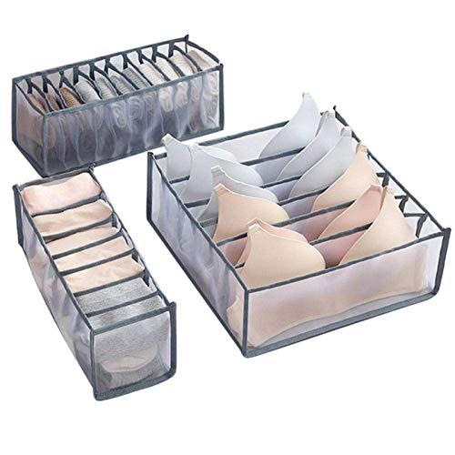 BANGSUN Cajas de almacenamiento para ropa interior, divisor, cajón, organizador para bufandas, color negro
