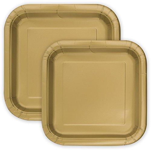 Party Pappteller Quadratisch Gold 18 cm + 23 cm - extra-stabil - 30 Einwegteller perfekt für Geburtstag, Party, Sommerfest, Kindergeburtstag & Co.