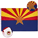 FLAGBURG Arizona Flag 3x5 FT, AZ State Flags with Embroidered Star, Sewn Stripes (Not Print), Canvas Header & Brass Grommets, 100% High-Grade Outdoor Nylon for All-Weather Outdoor Display