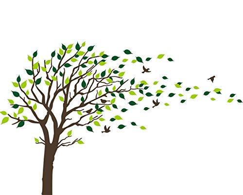 Bdecoll Adhesivo mural decorativo de vinilo, Naturaleza Bosque wandtat árboles y hojas pared pájaros vinilo decoración de interiores (negro)