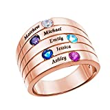 RYTUUFKJGS Grabado 5 Name & Birthstone Family Ring Anillo De Nombre Personalizado Anillo De Plata 925 Personalizado(Oro Rosa 21,75)