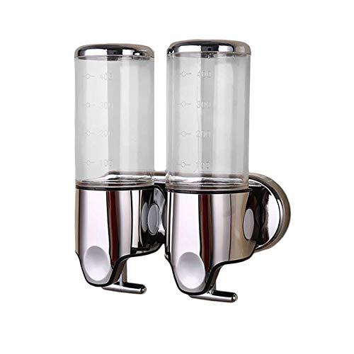 Dispensador de jabón doble montado en la pared champú acondicionador, gel de ducha loción jabón bomba para baño o cocina (transparente)