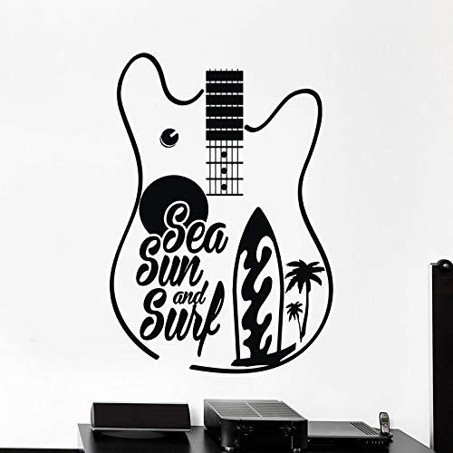 HGFDHG Calcomanía de Pared de Guitarra, Sol de mar, Cita de Surf, Surf, Puertas de Palma y Ventanas, Ventanas de Vinilo, Dormitorio de Adolescentes, Interiores de Estudio de música