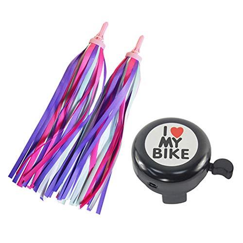 FBBULES 1 PCS Campana de Bicicleta para Niños y 2 PCS Bicicleta Streamer para Niños para Accesorios de Bicicleta Infantiles