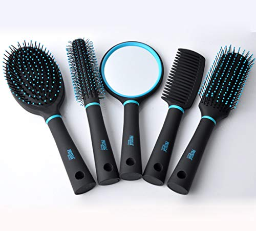 FEGER 5 Piece Set Peigne de Massage et Vanity Mirror, ABS No Tangled Coussin d'air Massage Brosse à Cheveux Soins personnels Produits cosmétiques