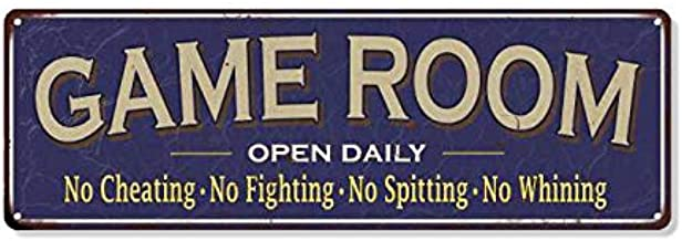 Game Room Blue Metal Sign Wall Signs Ideas Decorations Games Arcade Retro Gamer Art Accessories Theater Tin Plaque Art Gif...