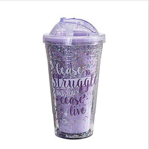 Cold waterkoker, creatieve plastic double-layer tumbler volwassen pailletten beker milkshake koud drankje grote capaciteit draagbare ketel