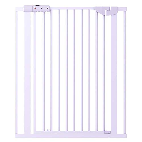 Best Price Huo Extra Wide Metal Baby Stair Gates, Pressure Mount White Safety Gates Dog Door, 71-180...