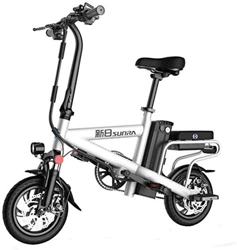 Electric Bike Electric Mountain Bike, Fast Electric Bikes for Adults 12 inch Wheels Lightweight and Aluminum Alloy Material Folding E-Bike with Pedals 48V Lithium Ion Battery 350W Electric Moped Bikes