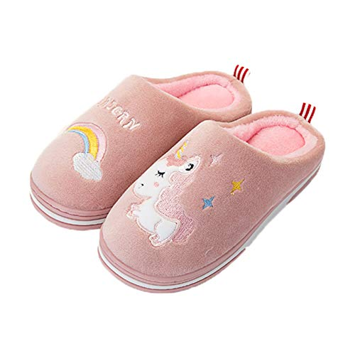 Zapatillas de algodón para interior con diseño de unicornio, antideslizantes, cómodas, cálidas, suaves para invierno para niños, tallas 18 a 25, de Coralup, color Rosa, talla 33/34 EU