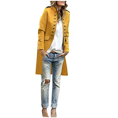 Geilisungren Damen Wollmantel Elegant Stehkragen Zweireiher Langarm Wolljacke Frauen Herbst Winter Einfarbige Langes Blazer Anzugjacke Sakkos Cardigan Outwear