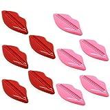 Xinlie 10 Piezas Dispensador Pasta Dientes Lip Forma Exprimidor de Tubos Plastico Dispensador para Pasta de Dientes Pintar Cabello Colorante Crema de Manos (Rojo y Rosa, Color al Azar)