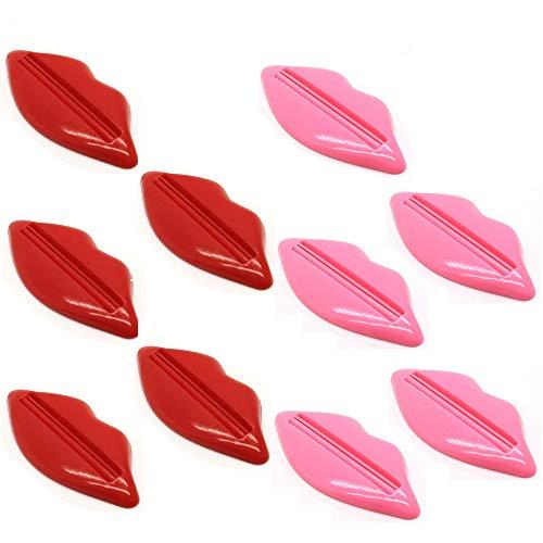 Xinlie 10 Piezas Dispensador Pasta Dientes Lip Forma Exprimidor de Tubos Plastico Dispensador para...