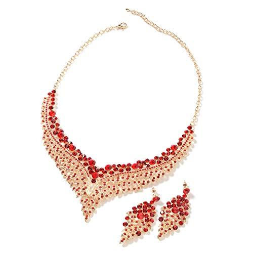 Red Crystal Statement Bib Choker Necklace Drop Dangling Earrings Stainless Steel Bridal Jewelry Set for Women Gifts 20
