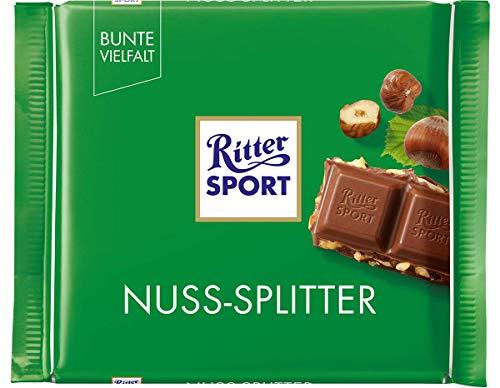RITTER SPORT Nuss-Splitter (12 x 100 g), Vollmilchschokolade mit Haselnuss-Stückchen, knackige Tafelschokolade, Schokolade mit Nüssen