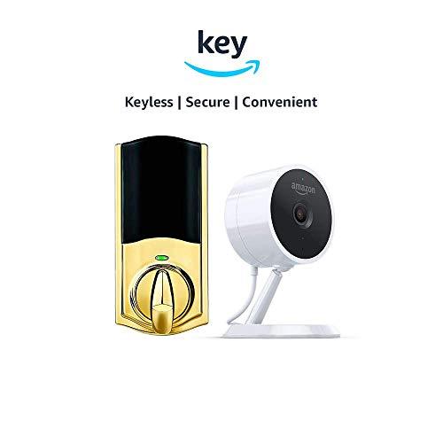 Kwikset Convert Smart Lock Conversion Kit + Amazon Cloud Cam | Key Smart Lock Kit (Polished Brass)