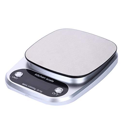 Xzbnwuviei Báscula de cocina de acero inoxidable, báscula digital de alimentos, báscula de peso con gramos, tara y unidades, función de conversión multifunción de libras y onzas