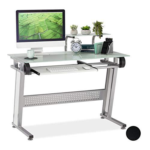 Relaxdays PC Schreibtisch, Glas, Tastaturauszug und Ablage, platzsparend, modernes Design, HBT 94x110x58 cm, weiß