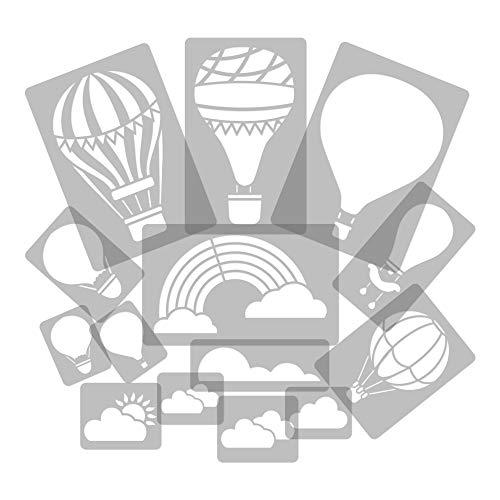14 Stück wiederverwendbare Kunststoff-Schablonen // Heißluftballon - Ballon - Wolke - Regenbogen // 34cm bis 8cm // Kinderzimmer-Dekorarion // Kinderzimmer-Vorlage