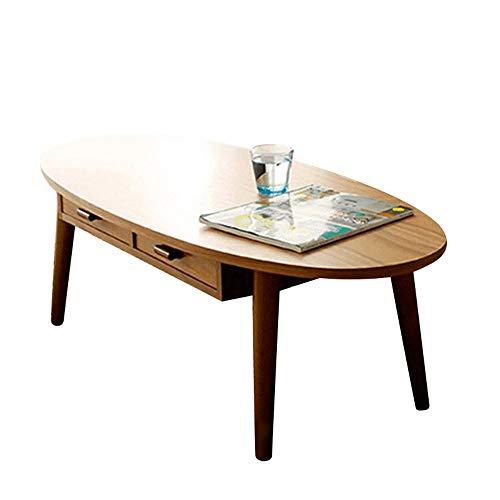 HAIZHEN Tables basses Grande table d'appoint, table basse de pied en bois massif avec table de rangement à 2 tiroirs pour salon, bureau et bureau (Couleur : A)