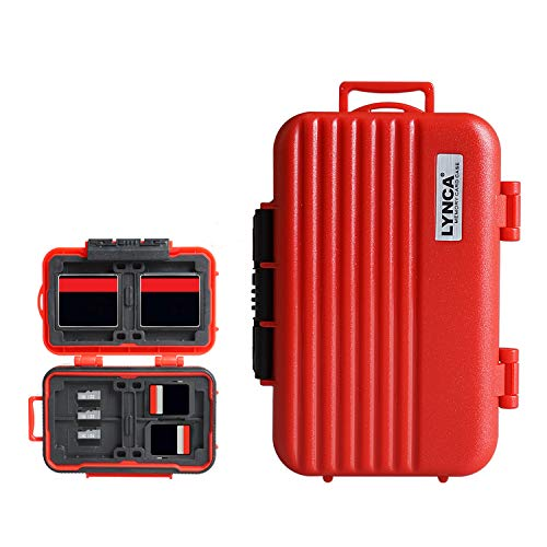 LYNCA Speicherkarten-Etui, Speicherkarten Hard Protector Case Professional Wasserdicht Anti-Shock Compact Kamera Karte Hard Aufbewahrungsbox für 8 SD Karten 4 CF-Karten 12 Micro SD/TF Karten (rot)