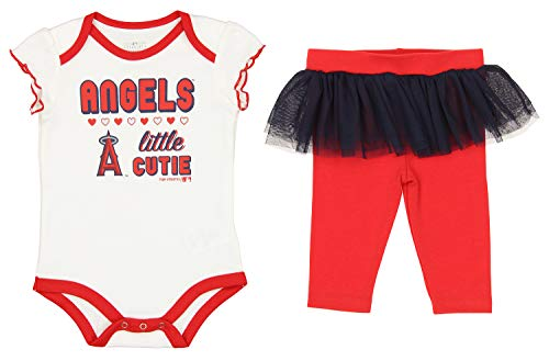 Outerstuff MLB Infant Little Cutie Onesie Tutu Leggings Set, Los Angeles Angels 18 Months