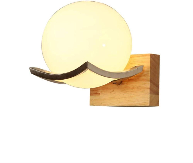 Holzglas Wandleuchte Wohnzimmer Schlafzimmer Nachttischlampe LED-Lampen im japanischen Stil