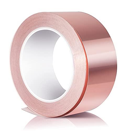 Cinta de cobre autoadhesiva 30 m x 50 mm, cinta de lámina de cobre EMI, cinta blindada de cobre, cinta adhesiva de protección contra caracoles, cinta de reparación eléctrica