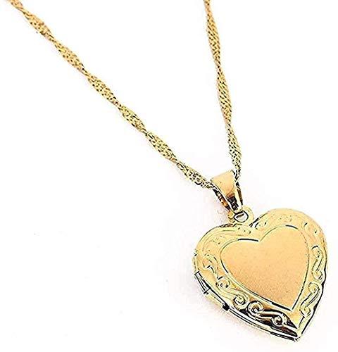 Aluyouqi Co.,ltd Halsband hjärta medaljong halsband hänge halsband guldfärg romantisk tjusig kvinnor alla hjärtans dag smycken gåva present för kvinnor män flickor pojkar halsband