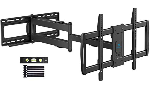PERLESMITH Full Motion TV Wall Mount for 37-75 inch Flat Screen or Curved TVs with 42.5 inch Articulating Extension Arm, TV Bracket Swivel and Tilt, Max VESA 600x400mm, Holds up to 132lbs, PSXLF01