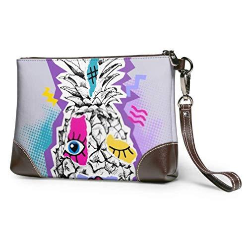 Hdadwy Wristlet Handtasche Bright Poster Zine Kultur Stil Kiefer Leder Wristlet Clutch Wallet für Frauen Damen Leder Wallet Smartphone Wristlet Geldbörse