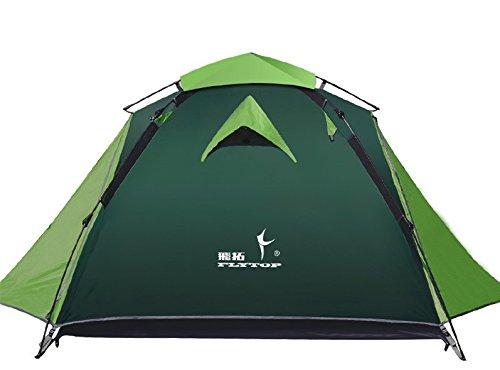 Flytop 3–4 saisons 3–4person double couche randonnée Tente en fibre de verre tiges coupe-vent étanche pour camping randonnée Voyage d'escalade – Facile à installer