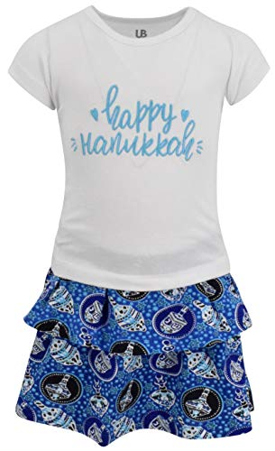 Unique Baby Girls Happy Hanukkah Dreidel Print Skirt Set Dress Outfit (4T/M) Blue