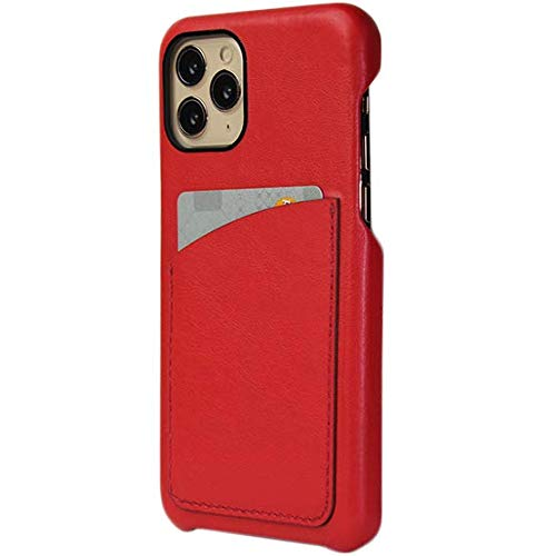 Case com Bolso para iPhone 11 Pro Max - Couro Legítimo - Feito à Mão no Brasil (Vermelho)