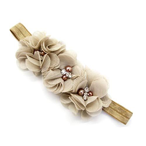 Huhu833 Baby Stirnbänder elastisches Stirnband Chiffon Blumen Fotografie Stirnband (Khaki)