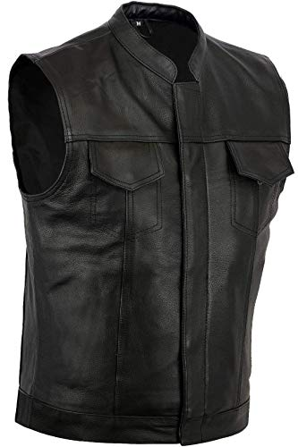 Australian Bikers Gear motorcycle Bikers nero Revolver gilet in pelle da taglio off grande l