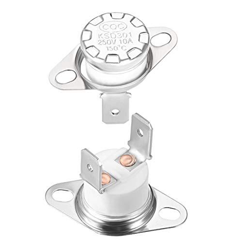 sourcing map 2pcs Bimetall Temperatur Reglerschalter Thermostat 150°C 10A NC6,3mm Stift de
