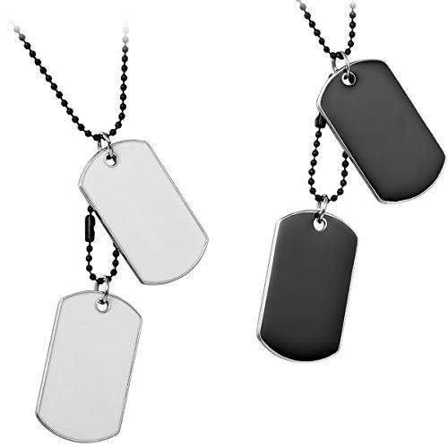 JewelryWe Schmuck 2pcs Herren Halskette, 2 Militärischen Erkennungsmarken Armee Stil Dog Tag Anhänger mit 70cm Kette, Weiss Schwarz, mit kostenlos Gravur