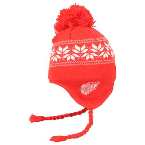 Detroit Red Wings CCM Tassel Pom Snowflake Knit Hat Chapeau