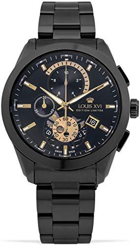 LOUIS XVI Herren-Armbanduhr Libérale Stahlband Schwarz Gold Chronograph Analog Quarz Edelstahl 985