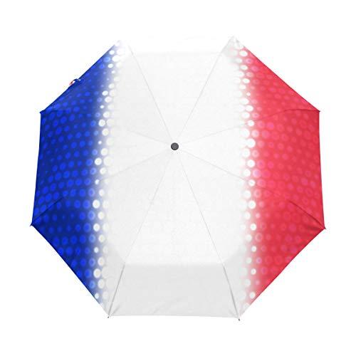 MONTOJ Regenschirm mit französischer Nationalflagge, 3-Fach gefaltet, UV-Schutz mit automatischem Öffnungsknopf