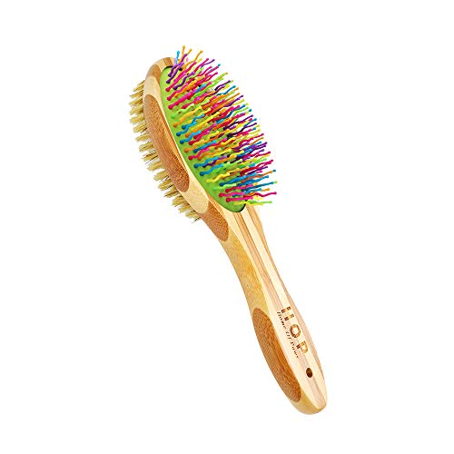 Dog Brush for Grooming, Cat Brush for Long & Short Hairs, Fur Remover & Soft Massage for Dogs & Cats Grooming Comb - Detangling & Deshedding & Dirt Cleaning, Natural Bamboo…